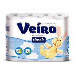 Бумага туалетная Veiro Classic 2-слойная белая (12 рулонов в упаковке)