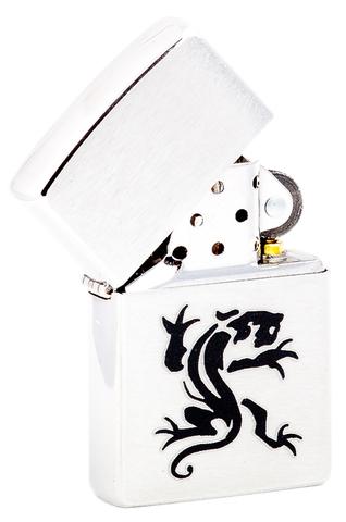 Зажигалка Zippo Panther с покрытием Brushed Chrome, латунь/сталь, серебристая, матовая, 36х12х56123