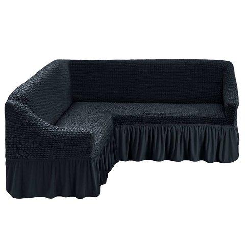 Чехол на угловой диван, темный асфальт