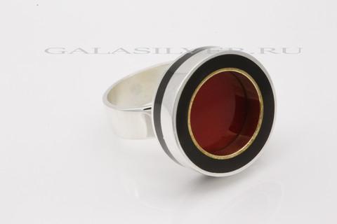 Кольцо с кораллом и эмалью из серебра 925