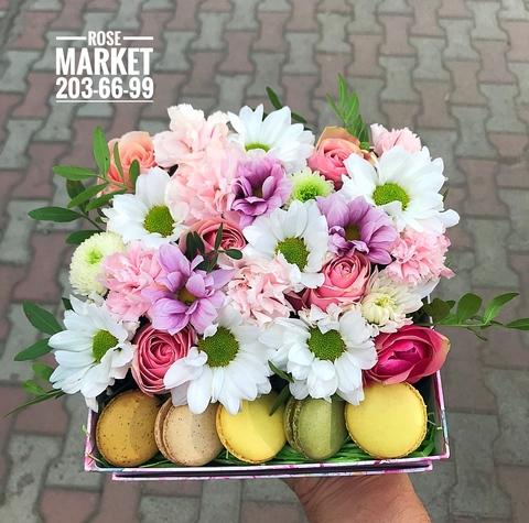 Цветы и macaron ( 5 шт.) #17611