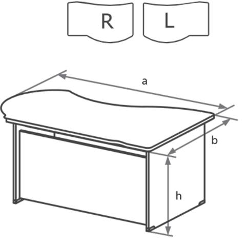 Стол письменный угловой на ДСП каркасе с низкой передней панелью БОСТОН