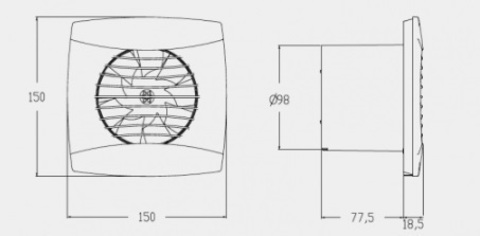 Вентилятор накладной Cata UC-10 Hygro Silver (таймер, датчик влажности)