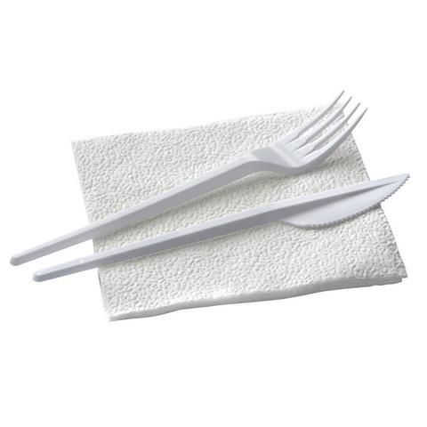 Комплект одноразовой посуды, №3 (вилка, нож, салфетка) 200шт/уп