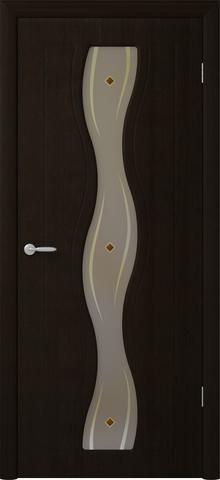 Дверь Фрегат Бергамо, художественное с фьюзингом, цвет венге, остекленная