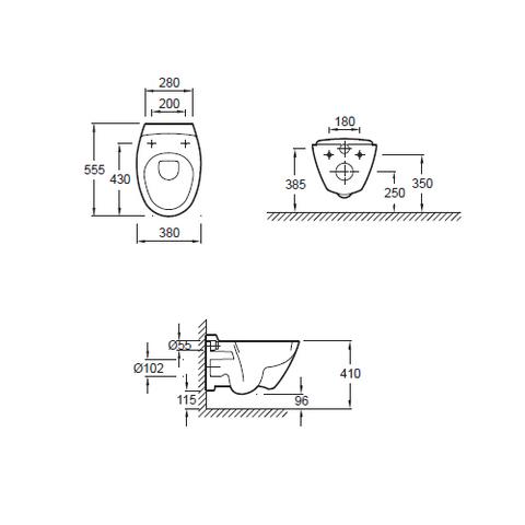 Унитаз подвесной Jacob Delafon Presquile (с крышкой SoftClose) E4440-00 схема