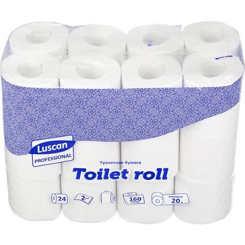 Бумага туалетная Luscan Professional 2-слойная белая (24 рулона в упаковке)
