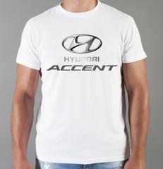 Футболка с принтом Хендай Акцент (Hyundai Accent) белая 0012