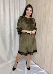 Лоліта. Нарядне велюрове плаття з мереживом. Оливка
