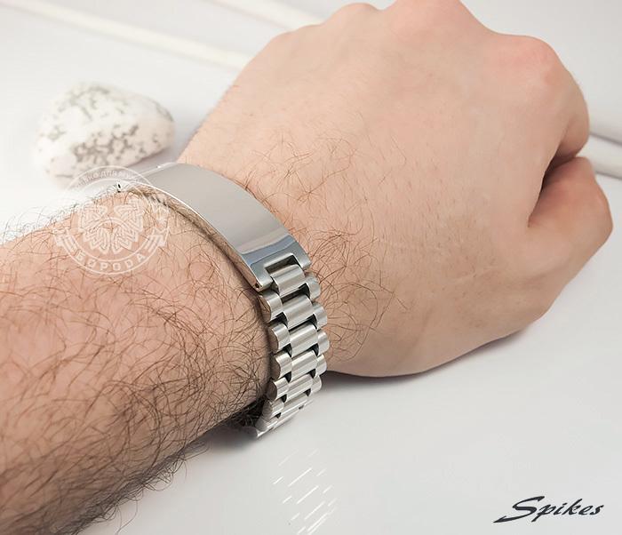 SSBQ-0009-1 Мужcкой браслет из ювелирной стали с пластиной, «Spikes» (21 см) фото 08