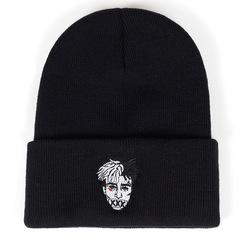 Вязаная шапка с отворотом и вышивкой XXXTentacion (Тентасьон), черная