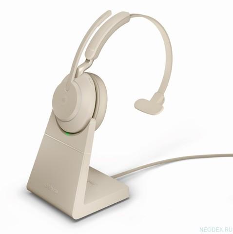 Jabra Evolve2 65 Mono UC USB-C беспроводная гарнитура бежевая с док-станцией ( 26599-889-888 )