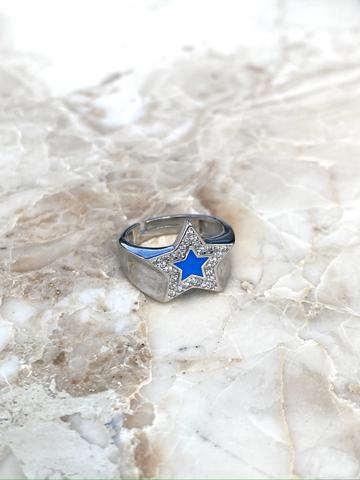Кольцо из серебра с голубой эмалью