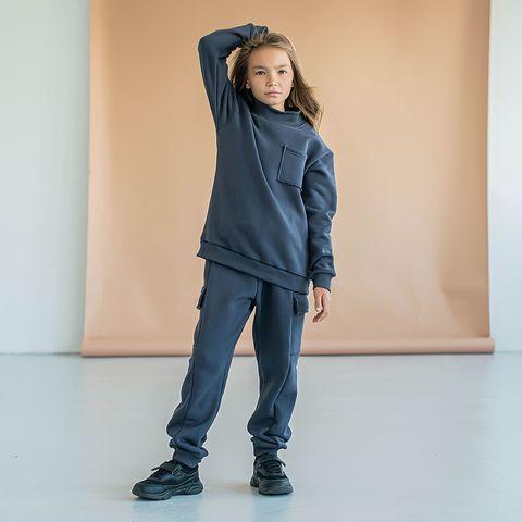 Warm oversized sweatsuit for teens - Graphite