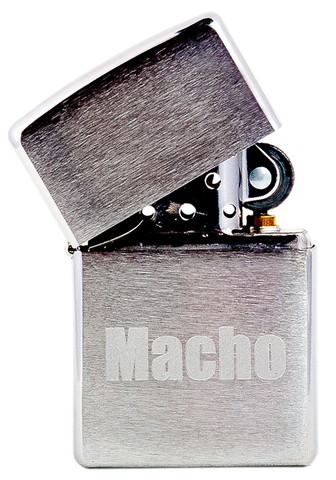 Зажигалка Zippo Macho с покрытием Brushed Chrome, латунь/сталь, серебристая, матовая, 36x12x56123