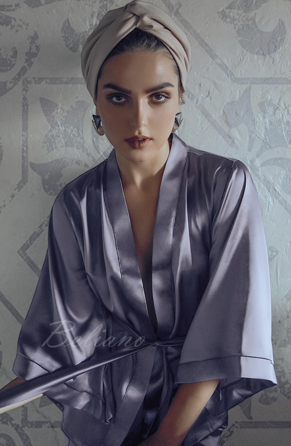 Шелковый костюм для дома  (жакет+брюки) Цвет пепельно-лиловый