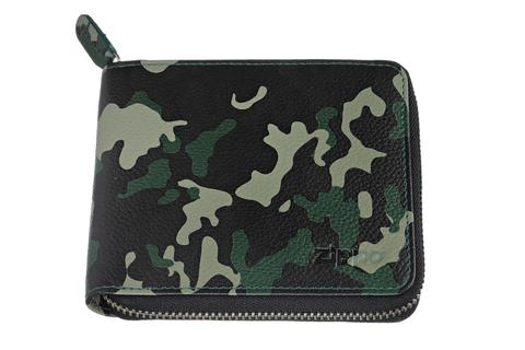 Кошелёк Zippo, зелёно-чёрный камуфляж, натуральная кожа, 12×2×10,5 см