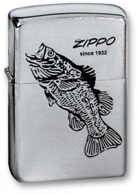 Зажигалка Zippo Black Bass с покрытием Brushed Chrome, латунь/сталь, серебристая, матовая, 36х12х56