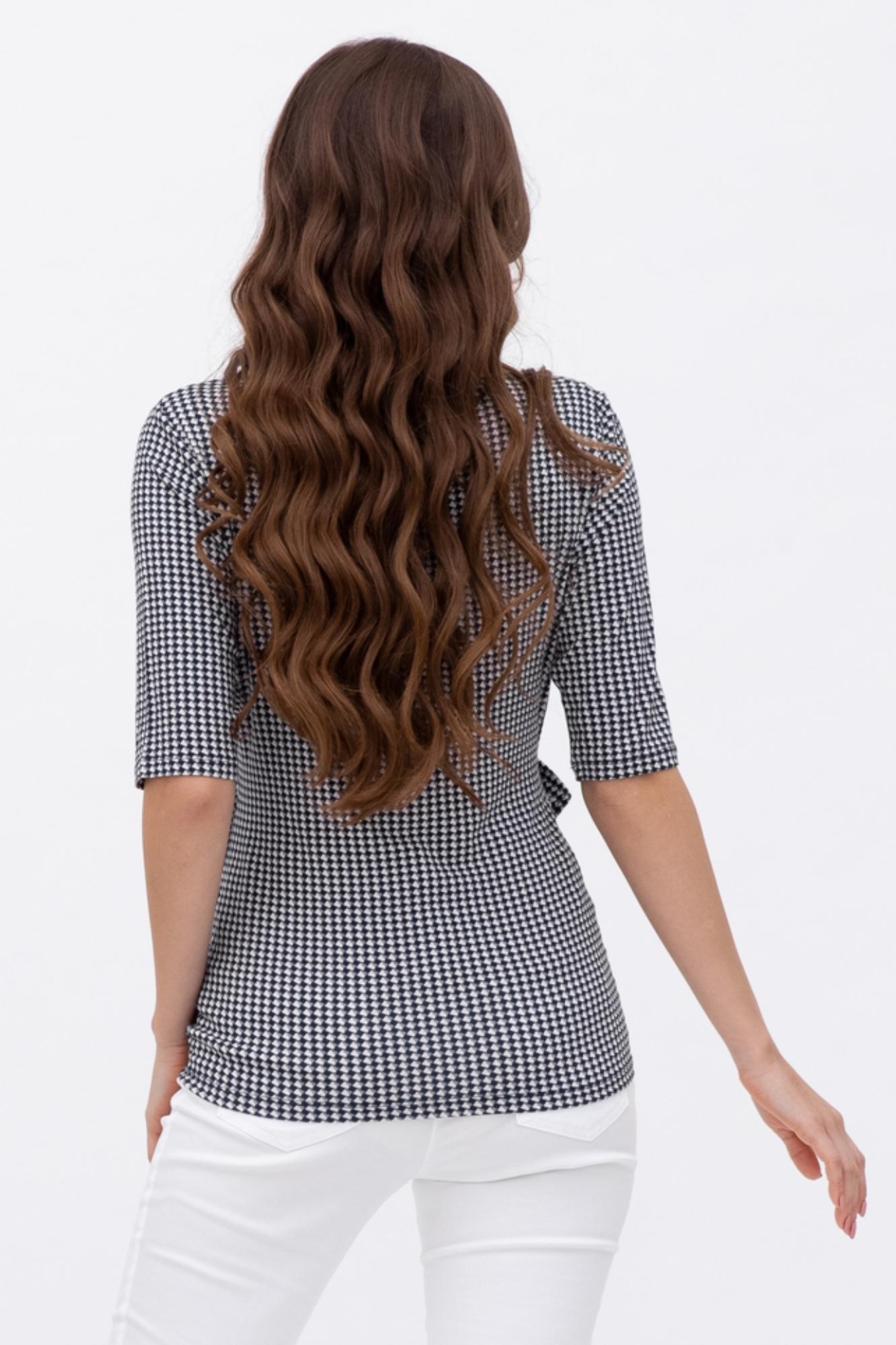 Блузка для беременных и кормящих 09747 черно-белый