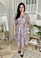 Сесіль. Романтична весняна сукня. Сірі квіти