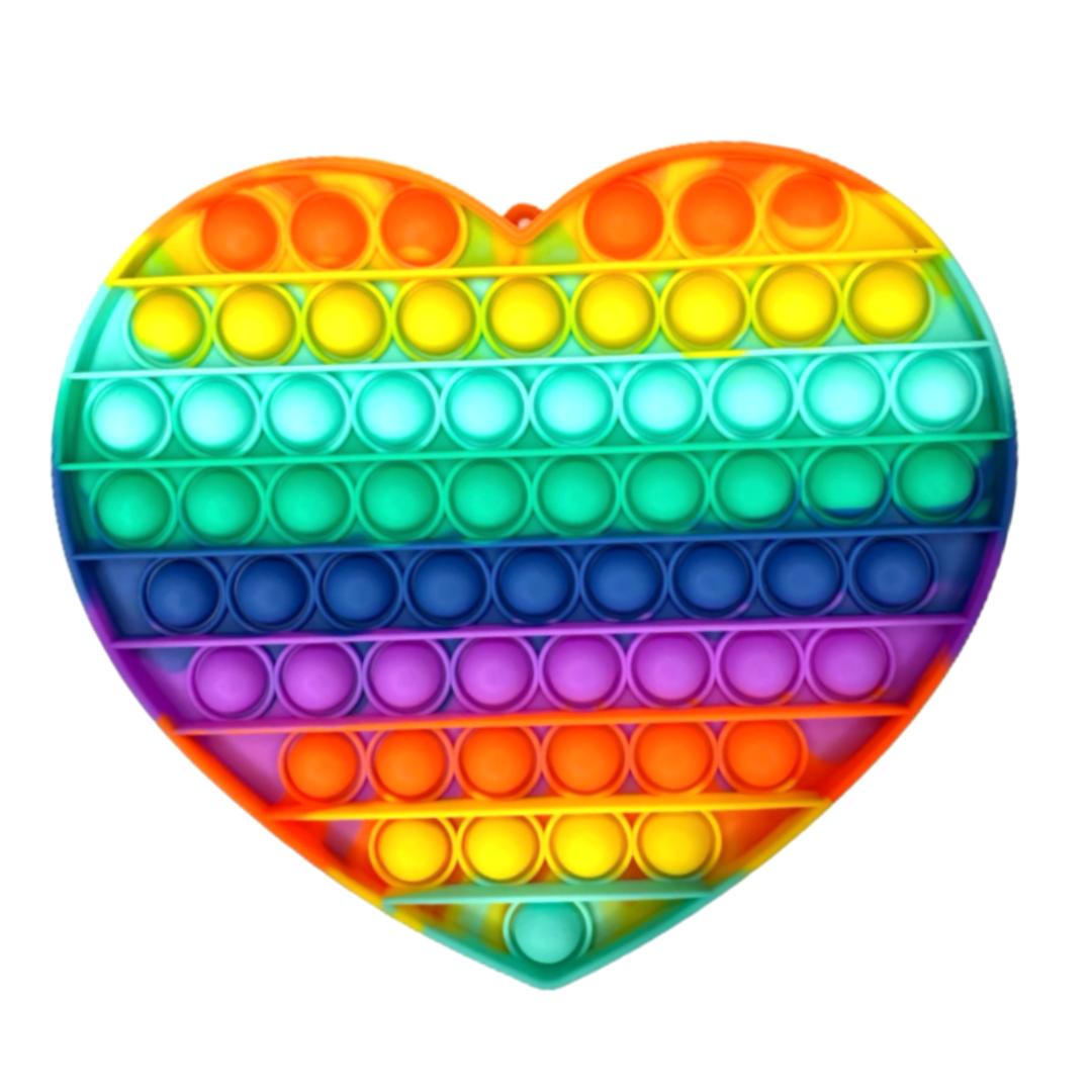 Пупырка вечная антистресс pop it (поп ит) радужное сердце большое 20 см
