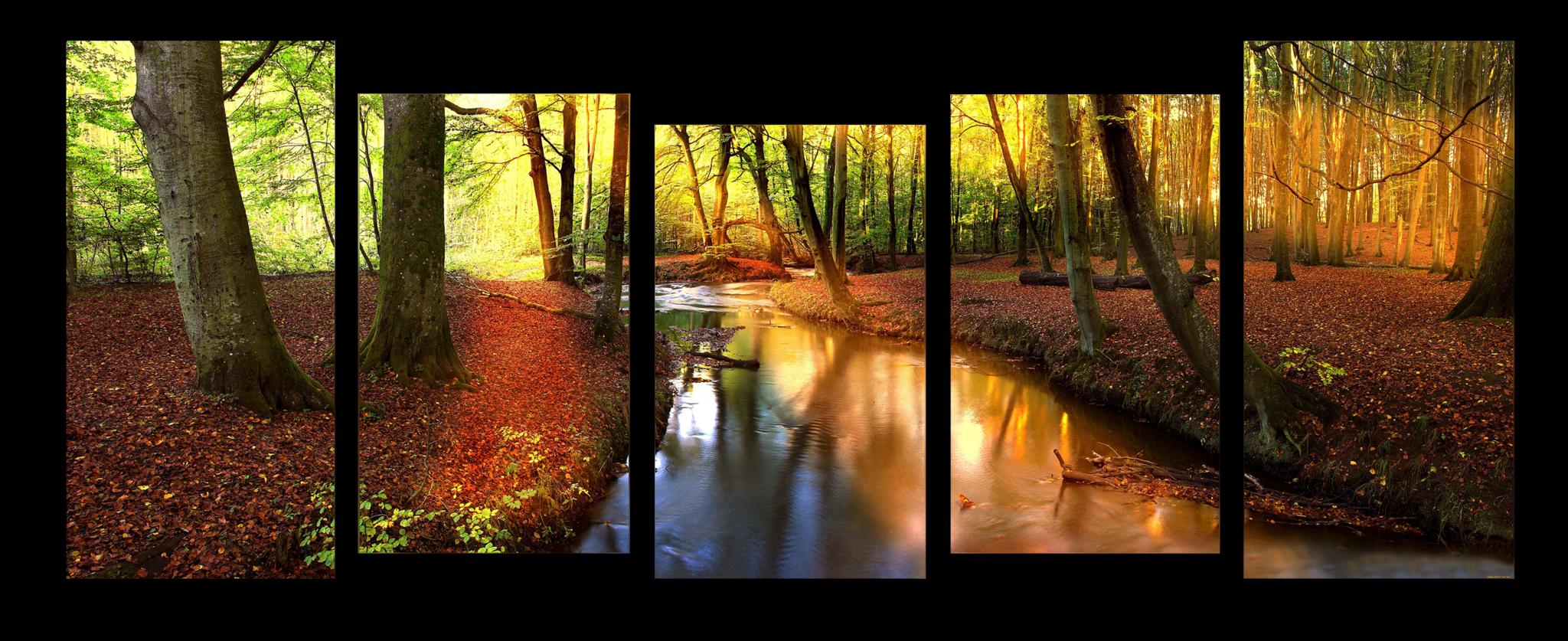 """Природа Модульная картина """"Река в лесу"""" М1099_М_загибы_90х36.png"""
