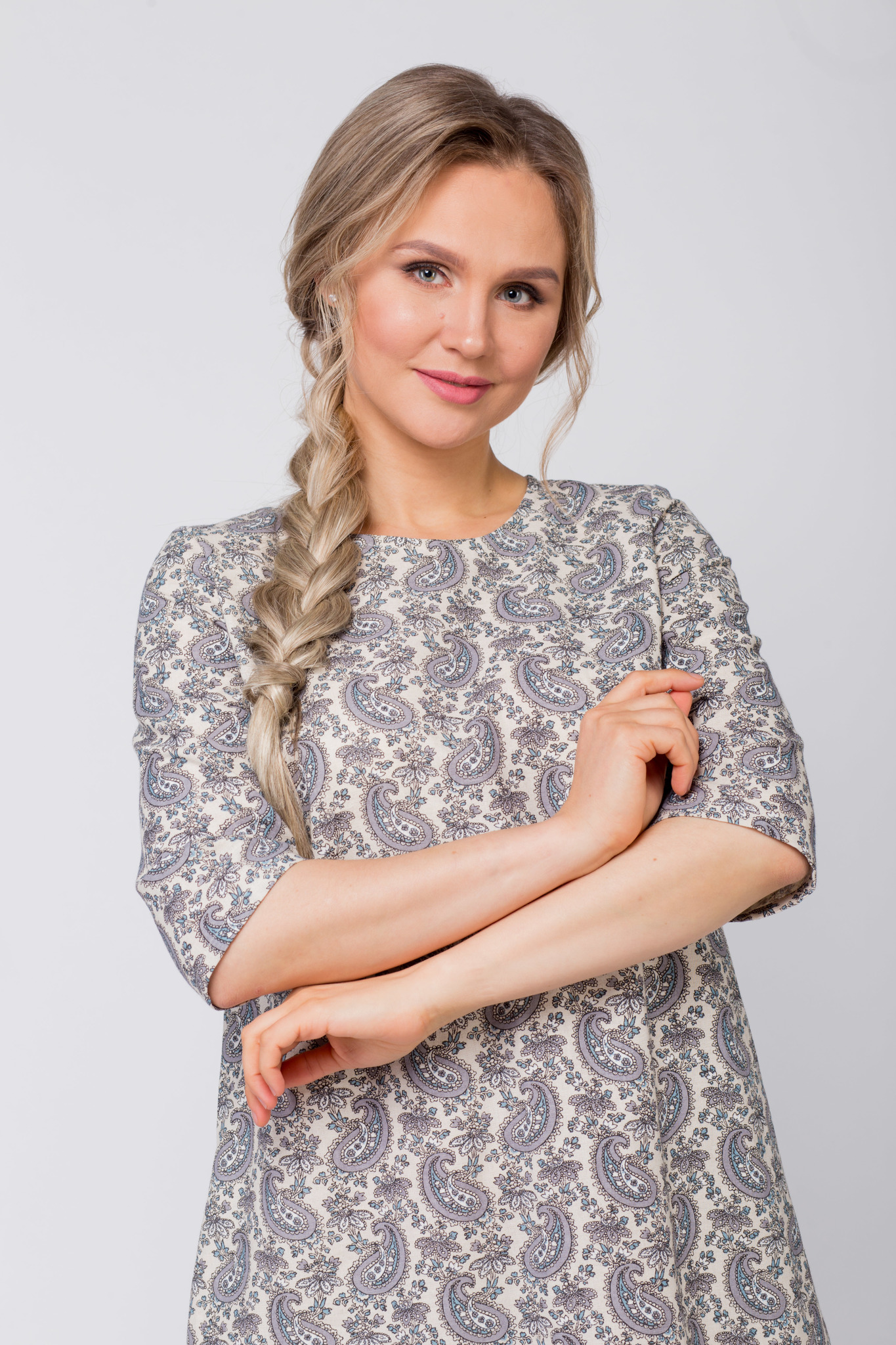 Платье льняное Огурцы приближенный фрагмент