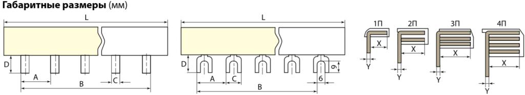 Шина соединит.PIN 1П 63А (штырь) 12PIN TDM