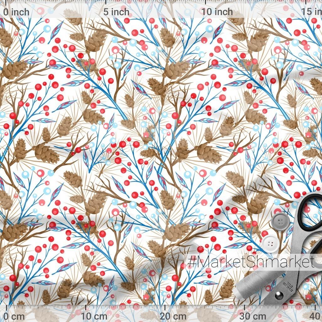 Зимняя сказка. Ветви с шишками и красными ягодами