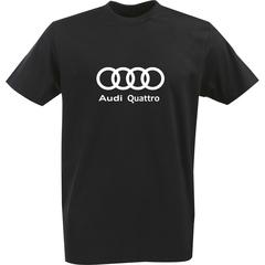 Футболка с однотонным принтом Ауди (Audi Quattro) черная 0031