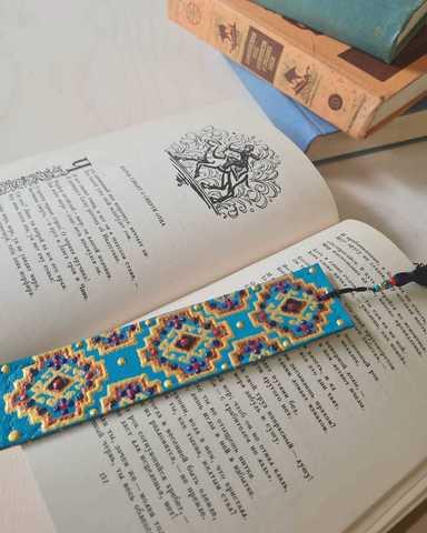 Dəri əlfəcin \  Кожаная закладка \ Leather bookmark (mavi2)