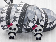 Лента репсовая Черно-белые бантики на горошках 25 мм