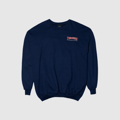 Свитшот Thrasher embroidered outlined crew navy