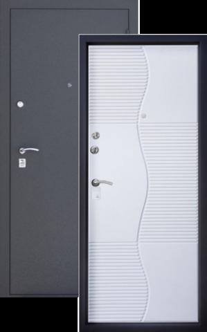 Дверь входная Сапфир стальная, белый шёлк, 2 замка, фабрика Алмаз
