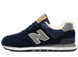 Кроссовки Мужские New Balance 574 Navy Grey Winter Edition С Мехом