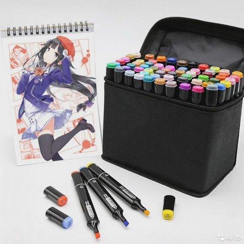 Набор профессиональных маркеров для скетчинга в чехле 48 цветов.