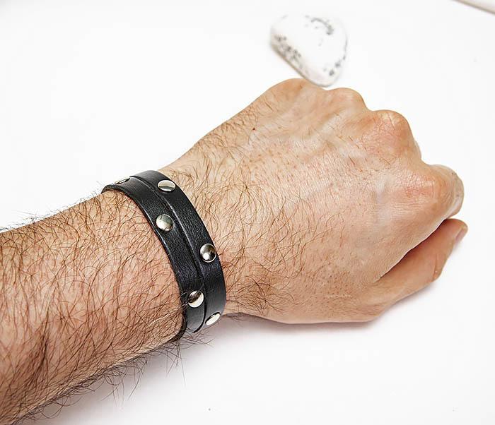 BL794-1 Мужской кожаный браслет с заклепками фото 06