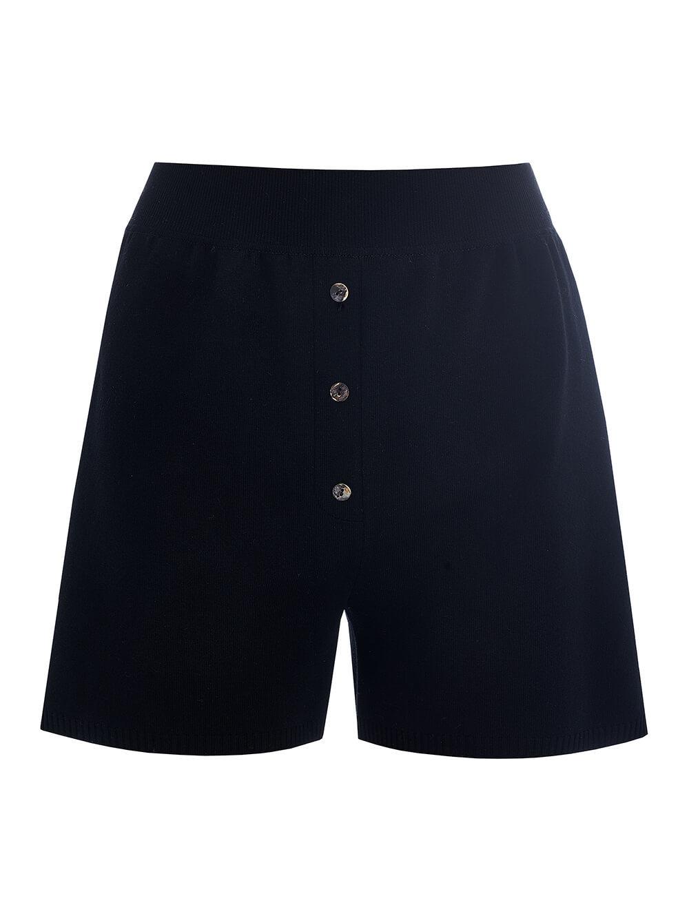 Женские шорты черного цвета из вискозы - фото 1