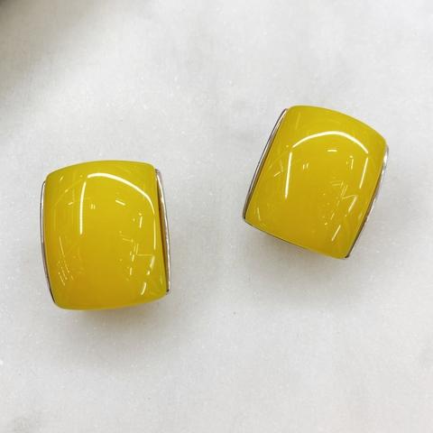 Серьги-кластеры, акрил (желтый)