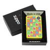 Зажигалка Zippo Boxes Flames, латунь/сталь с покрытием Neon Yellow, жёлтая, 36x12x56 мм