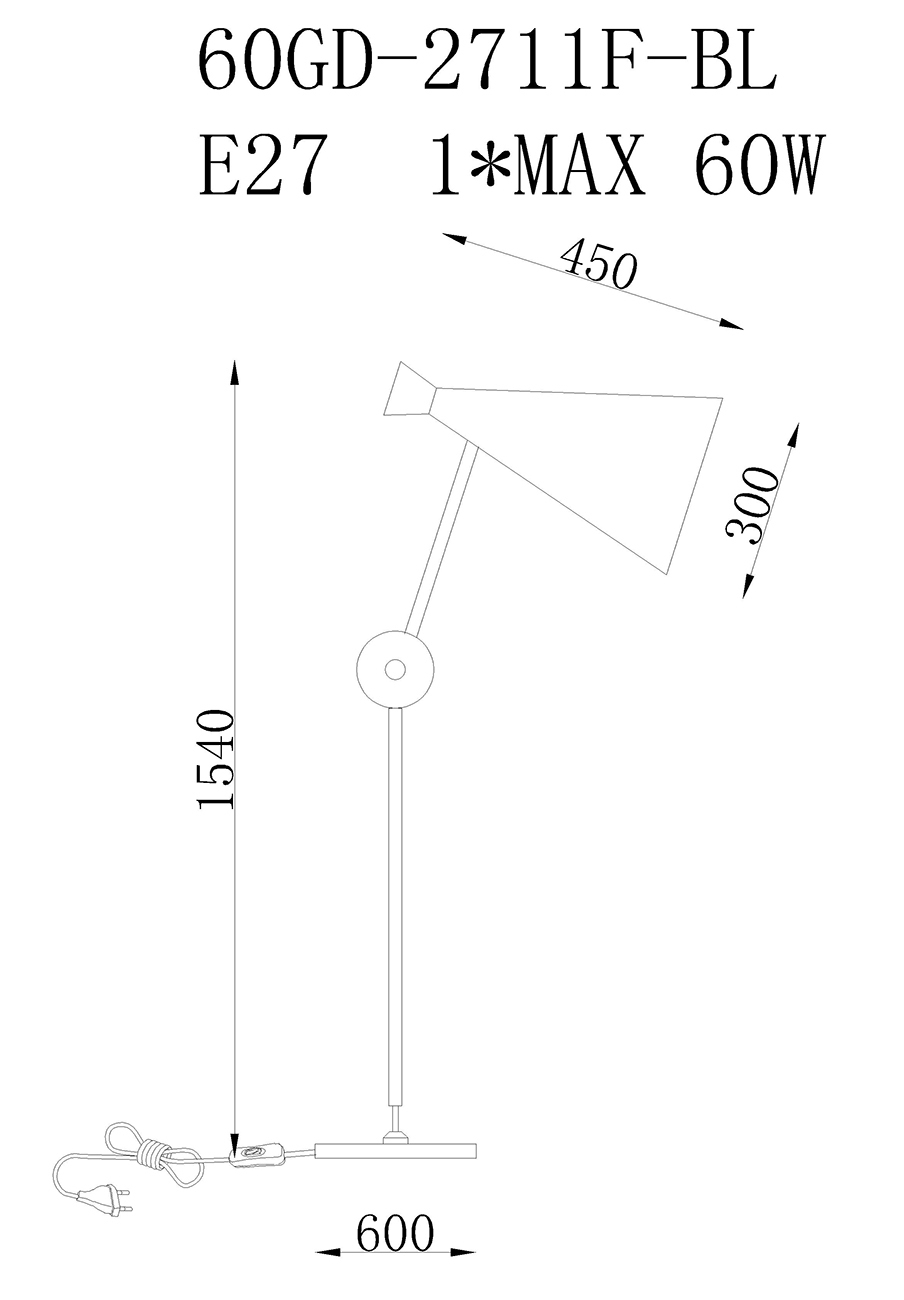 60GD-2711F-BL Торшер 60*30*154см
