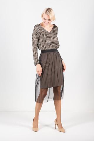 Фото бежевая юбка прямого силуэта со съемной сеточкой из поливискозы - Юбка Б116-298 (1)