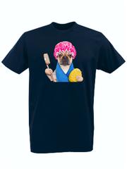 Футболка с принтом Собака (Dog) темно-синяя 0012