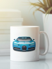 Кружка с автомобилем Bugatti Chiron (Бугатти Чирон) белая 008