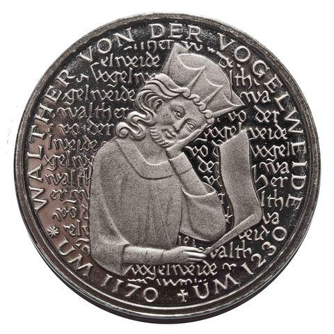 5 марок. 750 лет со дня смерти Вальтера фон дер Фогельвейде (D). Медноникель. 1980 г. PROOF