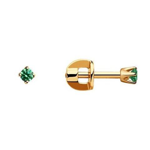 021944 - Серьги-пусеты из золота с зелеными фианитами