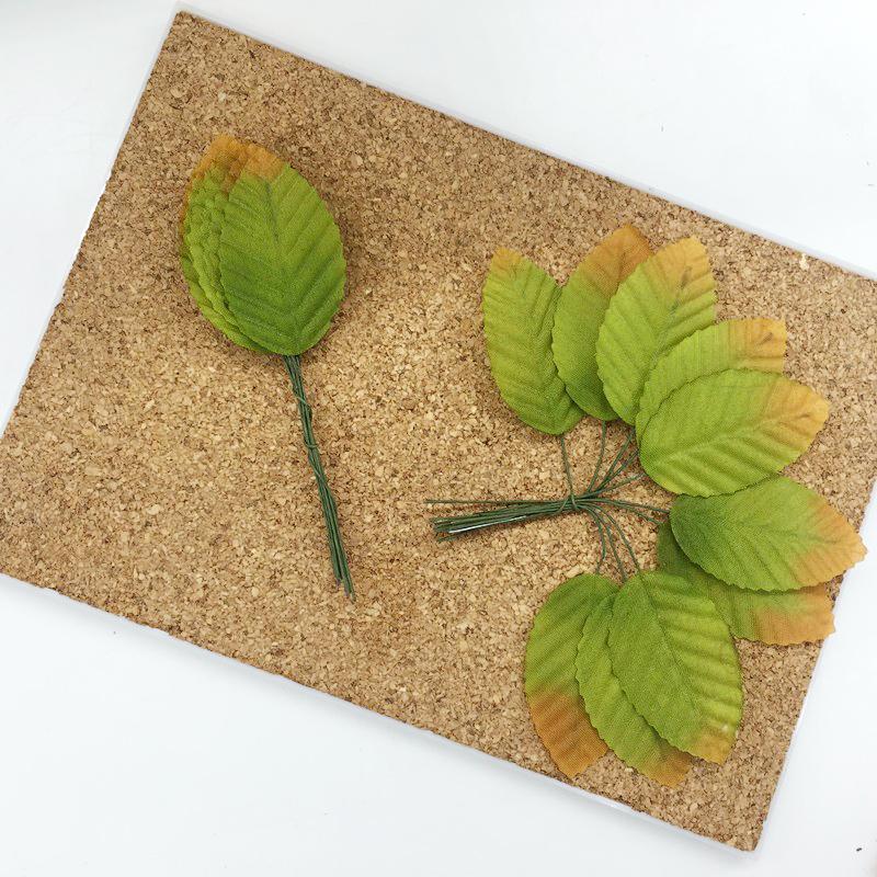 Листья из ткани на проволоке, зеленый
