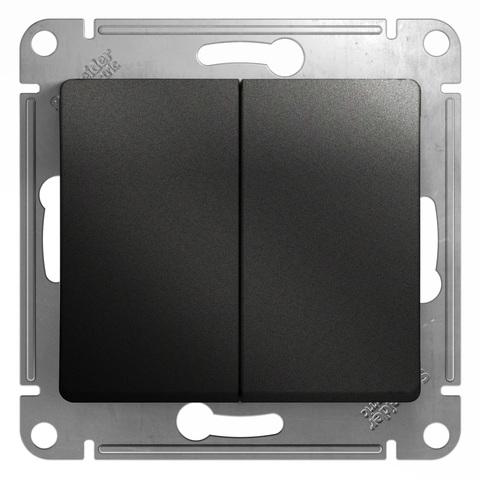 Выключатель двухклавишный, 10АХ. Цвет Антрацит. Schneider Electric Glossa. GSL000751