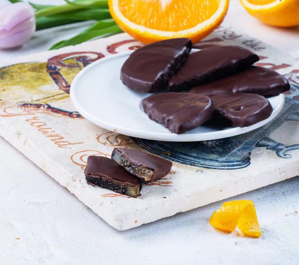 Конфеты Апельсиновые дольки в темном шоколаде, ФРЕНЧКИСС, 100г