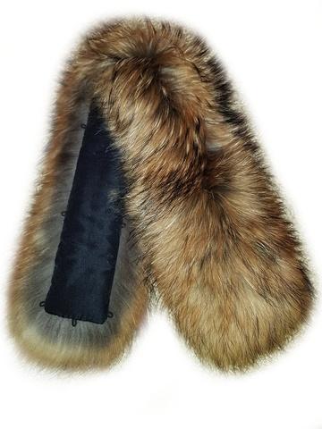Опушка на капюшон из натурального меха енот 70 см (Широкая)